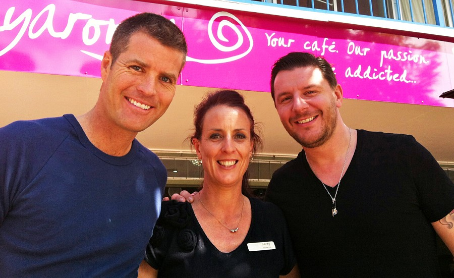 You never know who you might meet at Bayaroma! Manu & Pete from MKR came in for lunch while in Hervey Bay.