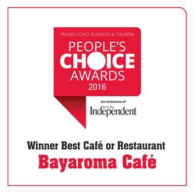 Fraser Coast Business & Tourism People's Choice Awards Winner 2016 Best Cafe or Restaurant