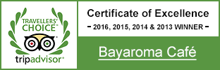 Bayaroma Cafe TripAdvisor Certificate of Excellence 2016, 2015, 2014 & 2013 Winner