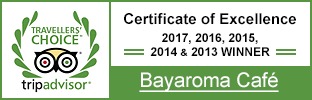 Bayaroma Cafe TripAdvisor Certificate of Excellence 2017, 2016, 2015, 2014 & 2013 Winner